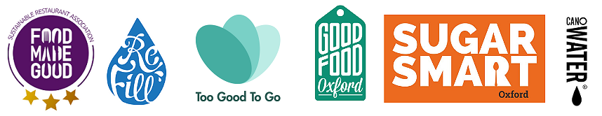 Gallery of Sustainable Restaurant Association, Refill, OLIO, Good Food Oxford, Sugar Smart Oxford and CanO Water logos