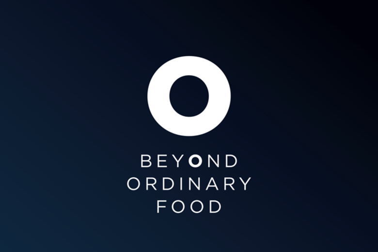 Dark blue banner with a white circular logo above the words 'Beyond Ordinary Food' written in capital letters and white font.