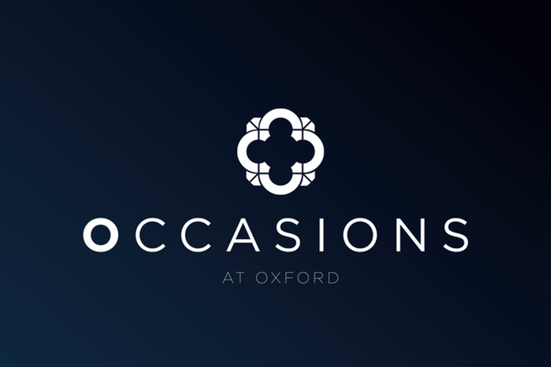Dark blue banner with a white logo above the words 'Occasions at Oxford' written in capital letters and white font.