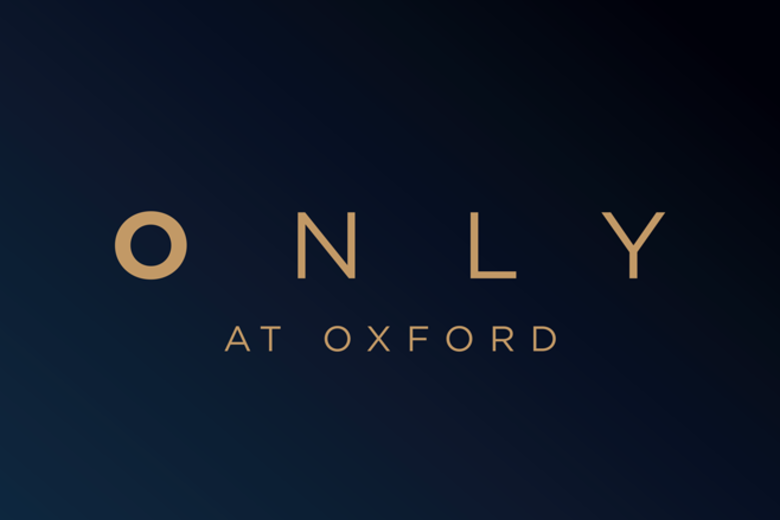 Dark blue banner with the words 'Only at Oxford' written in capital letters and gold font