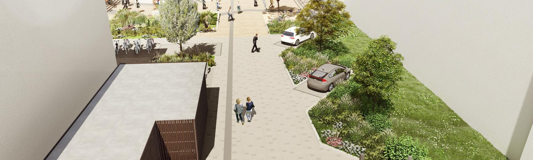 Artists impression of new landscaping plans at Hinshelwood Road