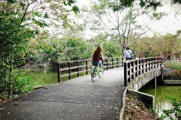 Photo of 2 people on bikes cycling over a bridge