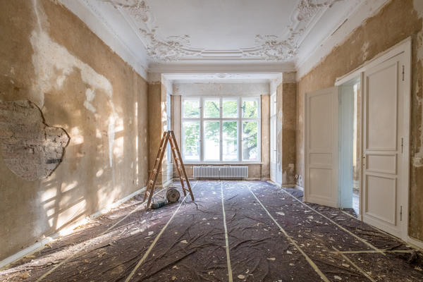 Photo of room in the process of being refurbished.