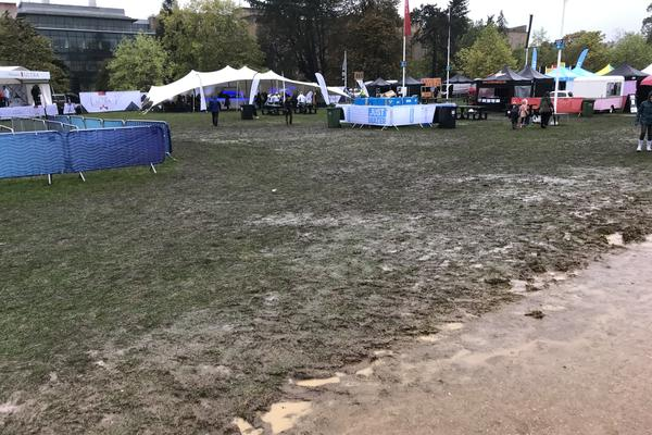 Photo of extremely muddy University Parks after the Oxford Half marathon in October 2019.