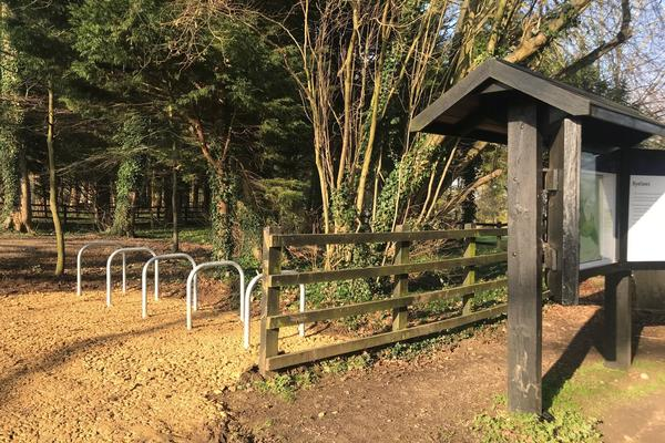 Photo of the newly installed bike racks at Wytham Woods