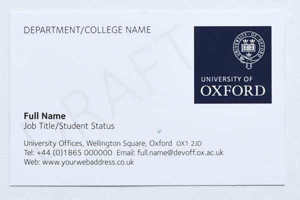 University of Oxford branded business card