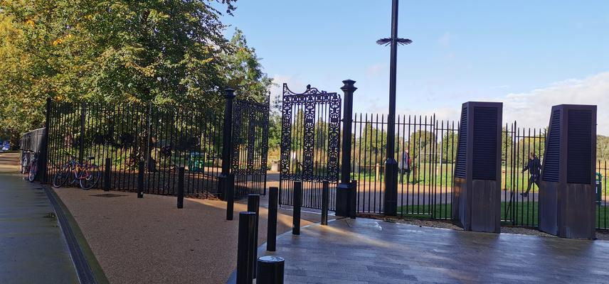 Photo of Keble Gate to University Parks after re-opening in October 2019