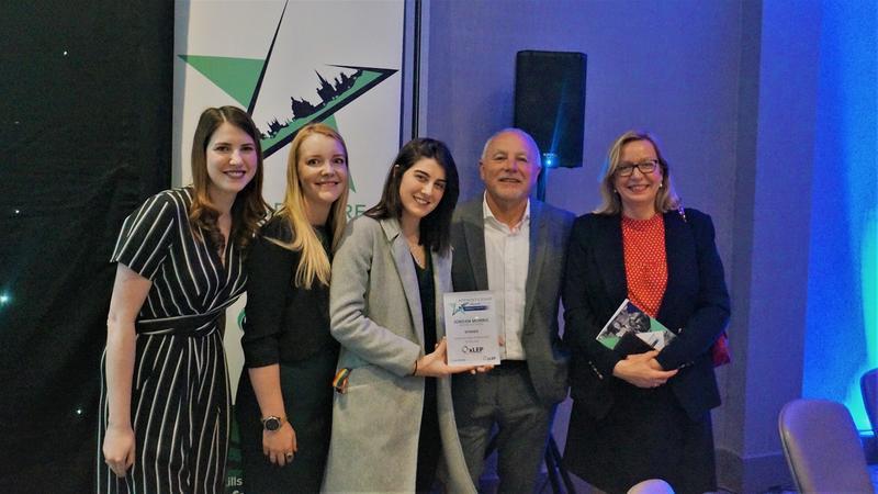 Jordan Morris receiving the Oxfordshire Apprentice Ambassador of the Year awards