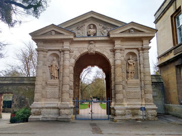 Photo of Danby Gate at entrance to Botanic Gardens arch after renovation of stonework.