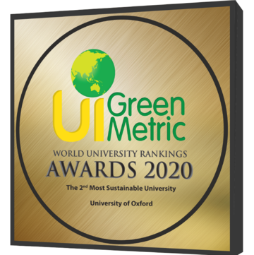 Image of award plaque reading 'UI Green Metric World University Rankings Awards 2020 - The 2nd Most Sustainable University - University of Oxford'